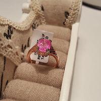 Pink crackled quartz solitiare ring set in rose gold over sterling silver