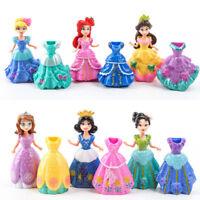 10cm 6Pcs Princess doll with 12Pcs Magic Clip Dress Kids Girl Favorite Toys Gift