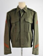 "Vintage 40's WWII War Marines Green 100% Wool  ""Ike"" Jacket Coat Uniform 34 L"
