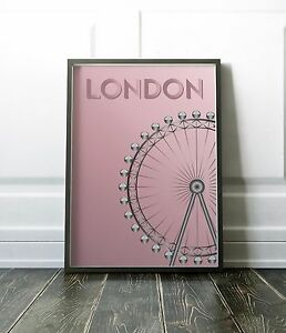 London Poster, London Print, Wall Art Print, Pink Wall Art, London Eye Wall Art