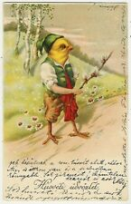 Easter, Chick Gentleman in Native Dress, Funny Old Postcard