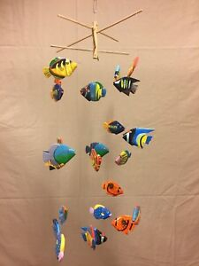 Folk Art Wooden Fish Mobile Handmade & Painted in Indonesia 27 Piece GIFT