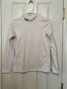 Under Armour Compression Shirt Top Youth Fitted Long Sleeve White L