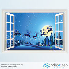 Christmas Night Santa Sleigh Window View Decal Wall Sticker Home Art Mural 3