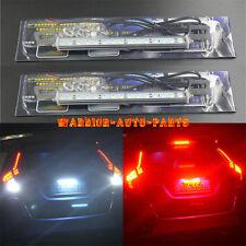 2X White/Red 30-SMD LED Lamps For License Plate Light,Brake/Backup Reverse Light