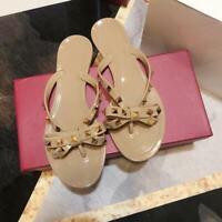 Womens PVC Flip Flops Flat Sandals Rockstud Bow Rivet Summer Beach Slippers