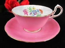 1930s Aynsley Pink Floral Cup D-hanlde Cup & Saucer - Numbered