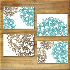 Teal Aqua/Blue Brown Art Prints Home Decor Floral Flower Burst Bathroom Kitchen+