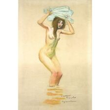 Auguste Leymarie, Vintage French Pastel Drawing, Nude Woman, Swimmer, Signed