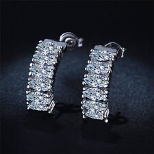 1Pair New Women Cubic Zirconia Rhinestone Stainless Steel Ear Stud Earrings