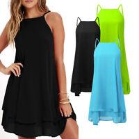 Fashion Women Loose Casual Solid Short Mini Dress Summer Beach Dress Plus Size