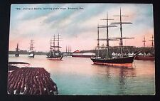 Portland Harbor, showing grain ships, Portland, Oregon - Divided Back Postcard