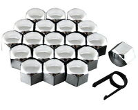 Set 20 17mm Chrome Car Caps Bolts Covers Wheel Nuts For Ford Focus Mk1 MK2