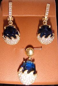 Blue Sapphire colored Glass with White Topaz Frost Pierced Earrings & Pendant