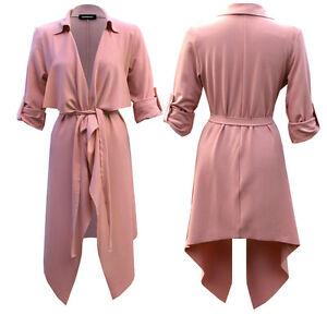Rose Womens Ladies Turn Up Sleeve Belted Waterfall Duster Blazer Coat Jacket