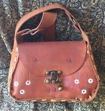 Vintage Boho Authentic Western Tooled Artisan Floral Tanned Leather Shoulder Bag