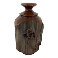 Hand Crafted WOOD VASE From Old Fence Post  Southwest Rustic Cabin Decor