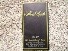 1979 Monte Carlo GM Factory Original Owners Manual Second Edition Mint Condition