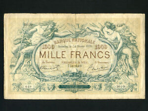Belgium:P-73,1000 Francs,1919 * Neptune * RARE * VF- *