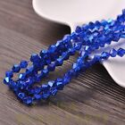 New Arrival 100pcs 6mm Faceted Bicone Loose Spacer Glass Beads Deep Blue