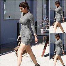 Womens Sexy Bodycon Pencil Dress Long Sleeve Party Evening Mini Faux Suede Dress