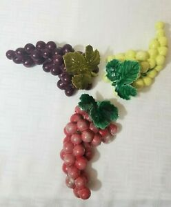 """Vintage Cluster of Grapes Purple Red Green Ceramic Tabletop Decor Each 7"""" x 4"""""""