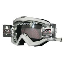 Progrip 3201-RO Race Line Motocross Goggles WHITE with RnR-XL-36mm Roll Off