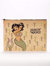 "Blue Q ""Makin' Waves"" Jumbo Pouch recycled mermaid vintage artwork"