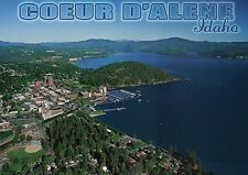 Aerial View of Coeur d'Alene Idaho, Tubbs Hill, Lake, Golf, Boating etc Postcard