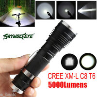 Skywolfeye 5000LM XM-L Zoomable Light C8 T6 LED 3 Modes Flashlight Torch