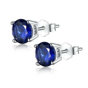 Created Sapphire 6mm Round Cut 925 Sterling Silver Stud Earrings Gifts for Women