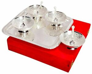 Silver Plated Brass Bowl Set with Tray - Pack