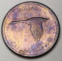 1967 CANADA SILVER DOLLAR GOOSE CHOICE BU TONED UNC COLOR GEM #18 (DR)