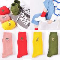 Women Girls Cartoon Warm Cotton High Socks Cute 3D Fruit Embroidery Hosiery