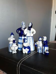 Gzhel Russian Hand Painted Figures X 4