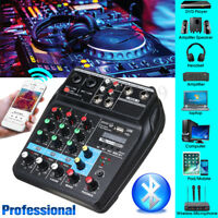 4 Channels USB Bluetooth Studio Audio Mixer Live Mixing Console 48V Phantom