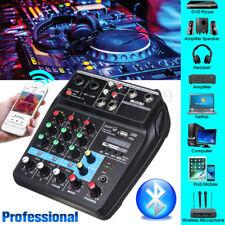 4 Channels USB bluetooth Studio Audio Mixer DJ Live Mixing Console 48V Phantom