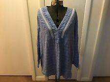 Women's Plus Size Blue Cotton Tunic with Embroidery by Gap ~ Size XL