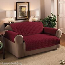 Luxury Quilted Burgundy Wine Sofa / Settee Furniture Chair Protector Cover Throw 3 Seat