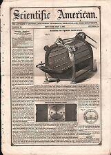 1852 - PEASLEE MACHINE FOR WASHING PAPER STOCK  PATENT