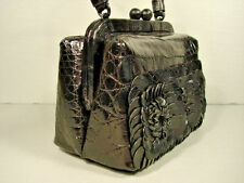 Nancy Gonzalez Black Crocodile & Flowers Top Handle Evening Bag Small Purse NEW