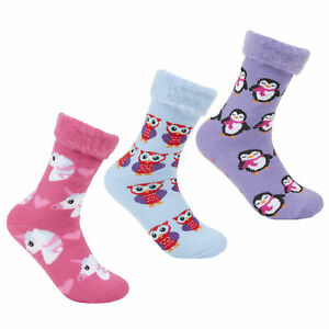 Forever Dreaming 3 Pairs of Ladies Brushed Bed Socks with Grippers