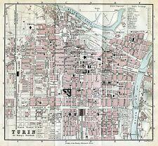 Pianta di Torino. Carta Topografica,Geografica.Stampa Antica + Passepartout.1891
