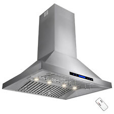 "36"" Stainless Steel Touch Screen Display Baffle Island Mount Range Hood"