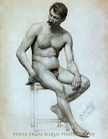 "Nude Male Sitting 8.5x11"" Photo Print Gustav Klimt Naked Man Fine Art Drawing"