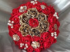 RED & GOLD BRIDAL WEDDING BOUQUET WITH BROOCHES PEARLS & DIAMANTES