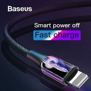 Baseus C-shaped LED Auto Disconnect USB Charging Cable fr iPhone X 8 7