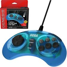 Retro-Bit Official Sega Genesis 8-Button Arcade Pad USB Controller PC/Mac Blue