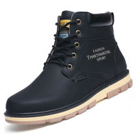 Mens Boots Waterproof Leather Hiking Ankle Boots Shoes Lace Up Solid UK 5.5-11