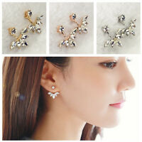 New Fashion Plated Double Sides Crystal Stud Earrings Women Elegant Jewelry Gift